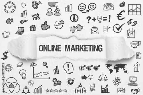 Fotografía  Online Marketing / weißes Papier mit Symbole