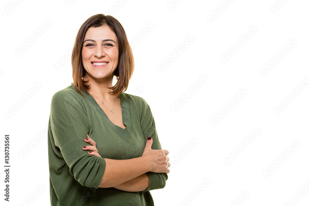 Fototapety, obrazy: Happy young woman posing on white background.