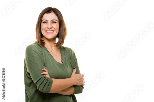 Fotografie, Obraz  Happy young woman posing on white background.