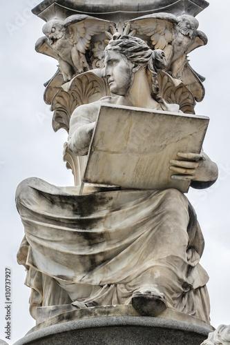 Photo  Pallas Athena fountain near Parliament Building. Vienna, Austria