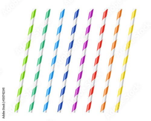 Striped colorful drinking straws Wallpaper Mural