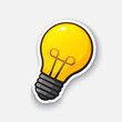 Vector illustration. Light bulb. Idea symbol. Cartoon funny sticker in comic style with contour. Decoration for greeting cards, posters, patches and prints for clothes, flyers, emblems
