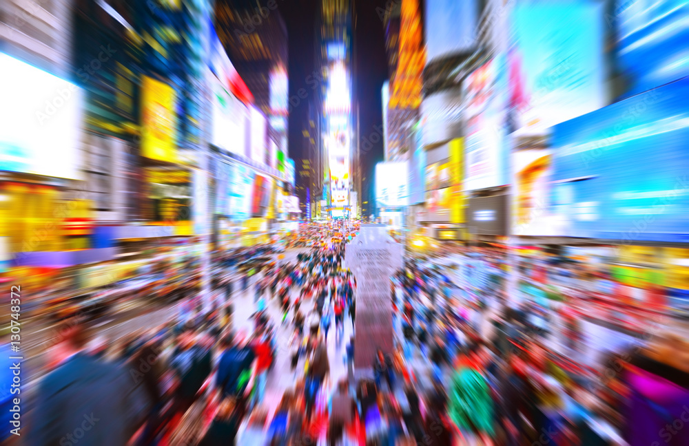 Fototapety, obrazy: View of Times Square at night in New York City with motion effect