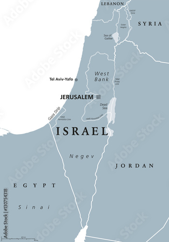 Israel political map with capital Jerusalem and neighbors ...