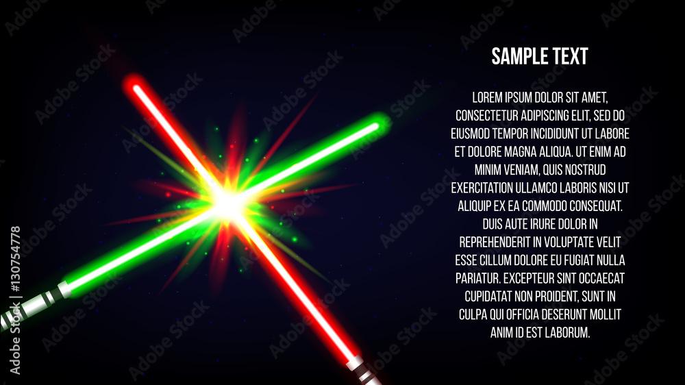 Photo  Crossed light swords background