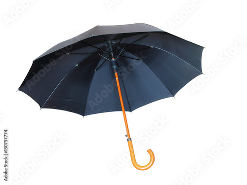 Black umbrella isolated on white background.