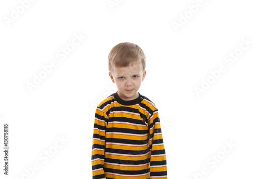 Fotografía  little boy standing in a striped T-shirt