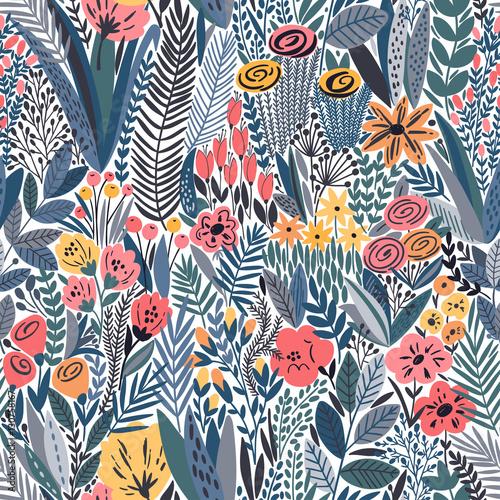 Naklejka na szybę Tropical seamless floral pattern