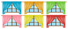 Windows With Different Color Curtains