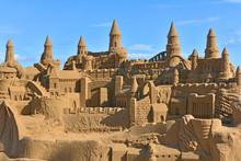 Beautiful Large Sand Castle On Malvarrosa Beach In Valencia, Spain