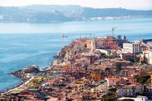 Landscape Of The Gulf Of Pozzuoli And Pozzuoli Town, Naples, Campi Flegrei, Italy