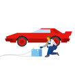 Mechanic recharge battery for red sport auto. Specialist with accumulator sits near a car. Flat style vector illustration isolated on white background.