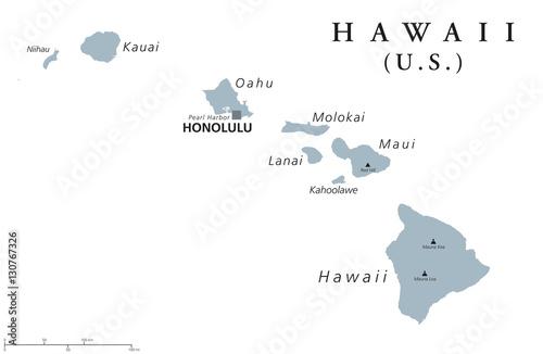 Photo  Hawaii political map with capital Honolulu