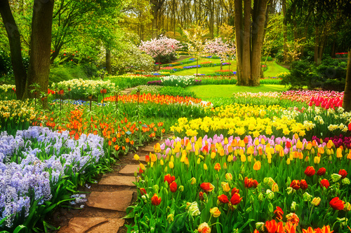 Photo Stands Garden Colourful Tulips Flowerbeds and Stone Path in an Spring Formal Garden, retro toned