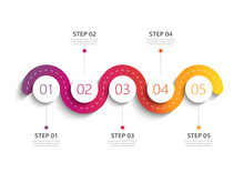 Winding Road Modern 3D Infographic Template With A Phased Structure. Business Circle Template With Options For Brochure, Diagram, Workflow, Timeline, Web Design. Vector EPS 10