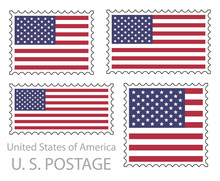 United States Of America Flag Postage Stamp Set, Isolated On White Background, Vector Illustration.