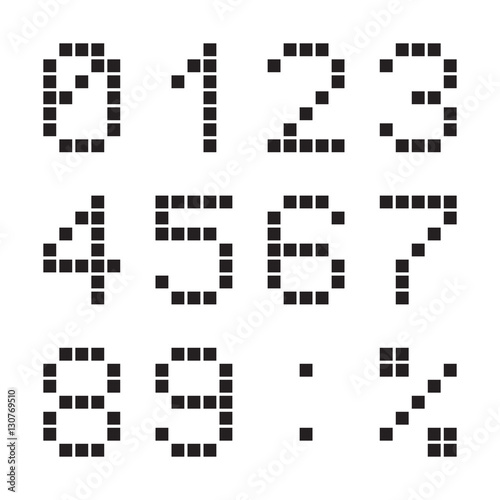 Wall Murals Pixel Calculator digital numbers, terminal table led font, black isolated on white background, vector illustration.