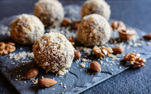 Unbaked Sweet Balls Made Of Walnut, Cocoa And Almond