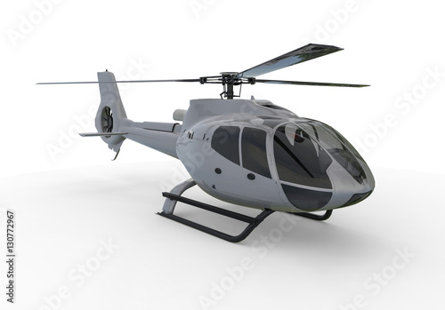 Staande foto Helicopter Helicopter / 3D render image representing a red helicopter on white background.