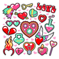 Hearts Love Badges, Stickers, Patches for Romatic Scrapbook Design. Vector illustration