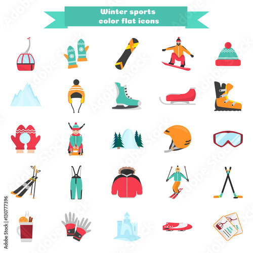 Winter sports and fun color flat icons set Fototapete
