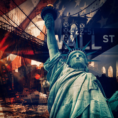 FototapetaNew York City collage including the Statue of Liberty and severa