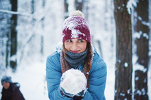 Friends Playing With Snowballs. Picture With Soft Focus. Winter Concept