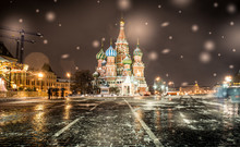 Saint Basil Cathedral In Moscow. Night Time With Snow Flakes