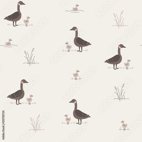 Fotobehang Vogel Seamless Pattern with Geese