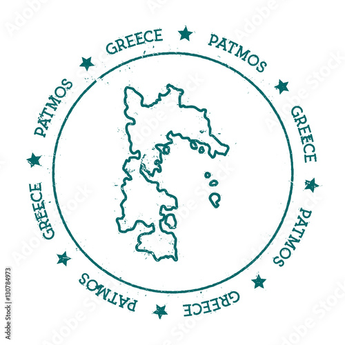 Patmos Vector Map Distressed Travel Stamp With Text Wrapped Around