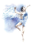 Balerina tanczy anioła akwareli obraz odizolowywającego na białym tle - 130786719