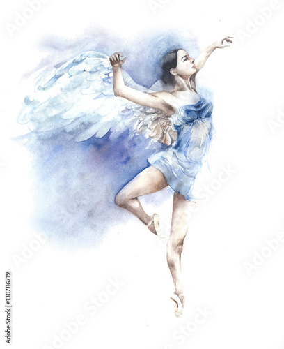 Photo  Ballerina dancing angel watercolor painting isolated on white background