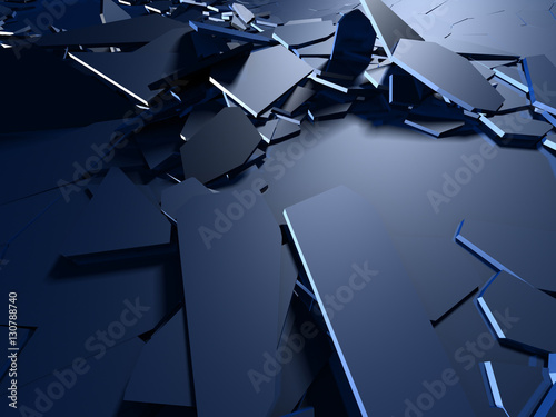 Fotografie, Obraz  Cracked blue shiny demolition broken surface background