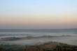 mountains under mist