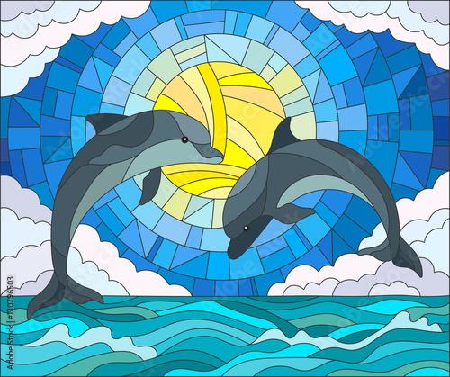 ilustracja-w-stylu-witrazu-z-para-delfinow-na-tle-wody-chmury-nieba-i-slonca