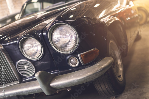 Close up of headlight Retro classic car