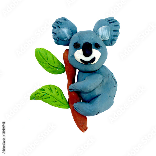 Plasticine  baby animal 3D rendering  sculpture isolated on white