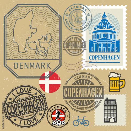 Poster Affiche vintage Travel stamps or symbols set, Denmark, Copenhagen theme