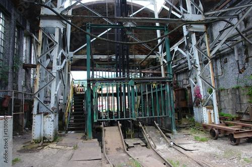 Acrylic Prints Old abandoned buildings Zona de embarque de un pozo minero ya cerrado