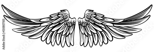 Foto  Spread Pair of Angel or Eagle Wings