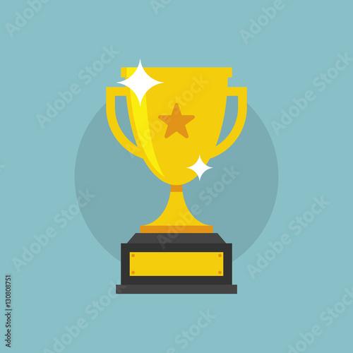 Fotografie, Obraz  Trofeo di vittoria, coppa dorata scintillante con icona a stella, illustrazione
