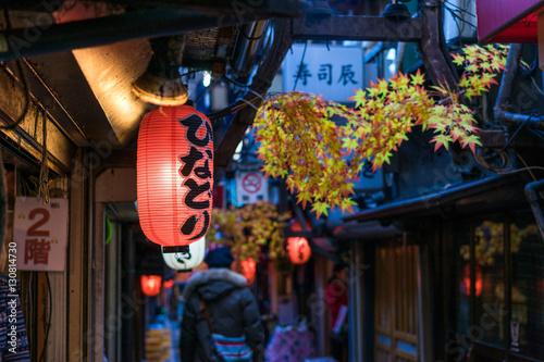 Plakat Restauracyjna ulica dekorująca z czerwonym liściem w Tokio
