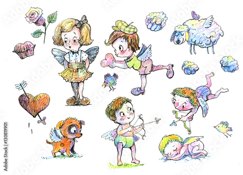 Holiday Angel Valentines Day A Set Of Characters Cartoon Drawing