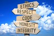 canvas print picture - Wooden signpost - code of conduct (ethics, respect, code, honesty, integrity).
