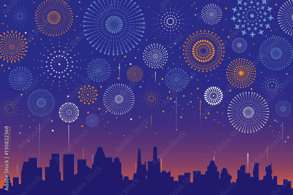 Vector illustration of a festive fireworks display over the city at night scene for holiday and celebration background design. <span>plik: #130822368 | autor: auspicious</span>