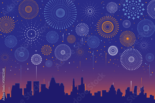Spoed Foto op Canvas Violet Vector illustration of a festive fireworks display over the city at night scene for holiday and celebration background design.