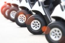 Golf Car Parking Row, Golf Carts At The Golf Course