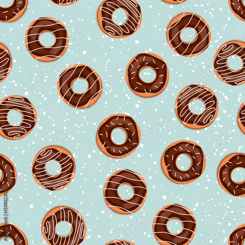 Cotton fabric Seamless sweet donuts into the glaze. Pattern.