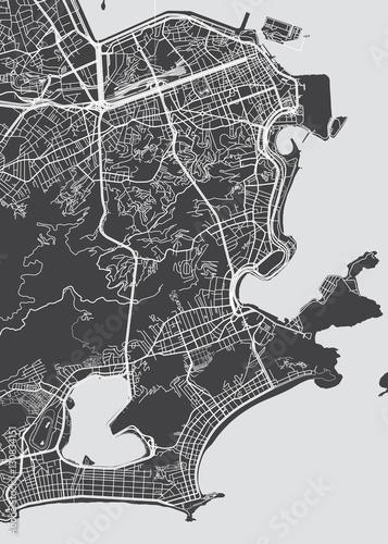 Obraz na plátně Vector detailed map Rio de Janeiro