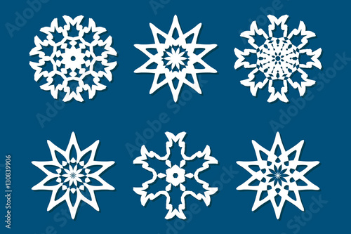 Snowflake Set Laser Cut Pattern For Christmas Paper Cards Wood Impressive Snowflake Cutting Patterns